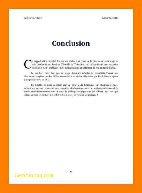 Conclusion Rapport Stage