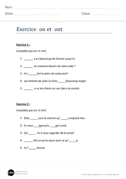 Exercice on ont – Homophones on ont   Exercices d