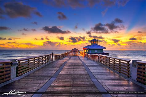 On the Juno Beach Pier Bright Sunrise Glow