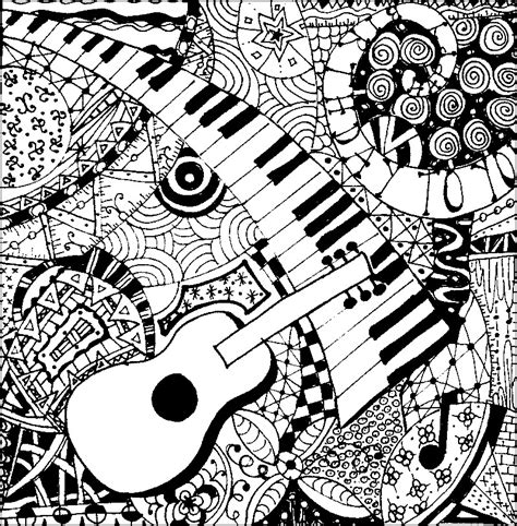 Art Therapy coloring page Music : Guitar and piano 5