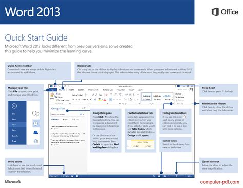[PDF] Word 2013 Quick Start Guide free tutorial for Beginners