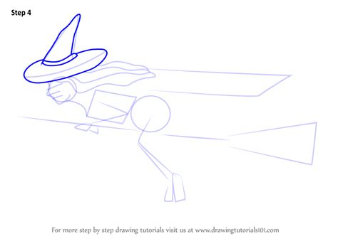 Learn How to Draw Witch on Broom (Halloween) Step by Step