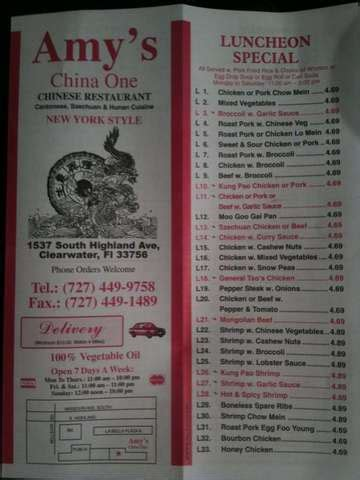 Amy's China One - Order Online + Menu & Reviews